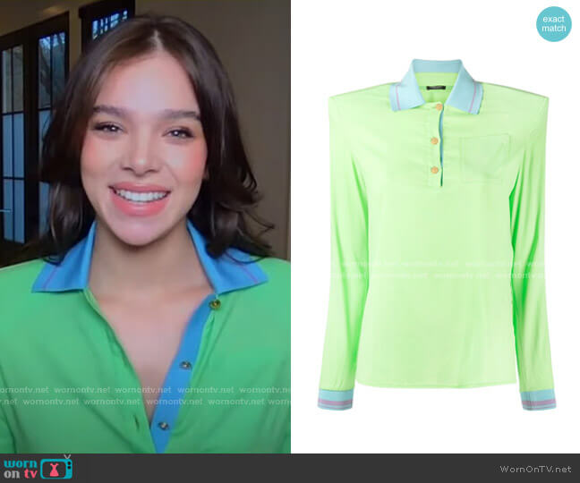Structured-Shoulder Polo Shirt by Versace worn by Hailee Steinfeld on GMA