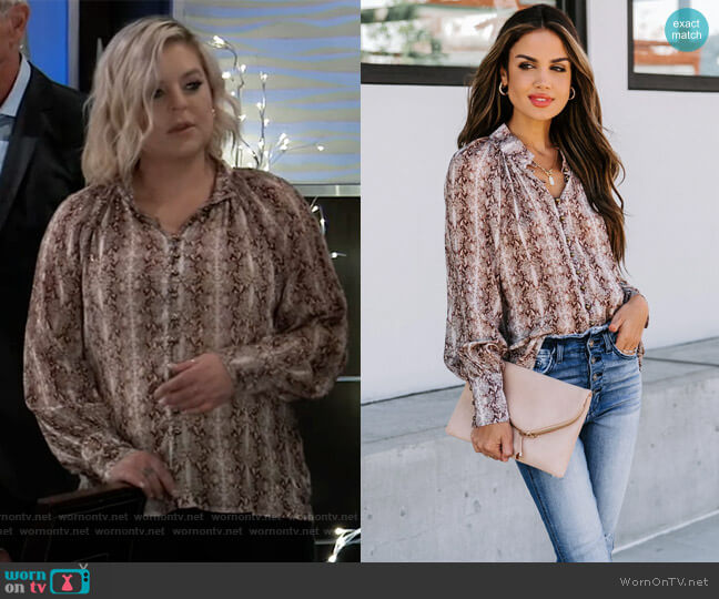 Good Day Sunshine Metallic Button Down Blouse by Vici worn by Maxie Jones (Kirsten Storms) on General Hospital