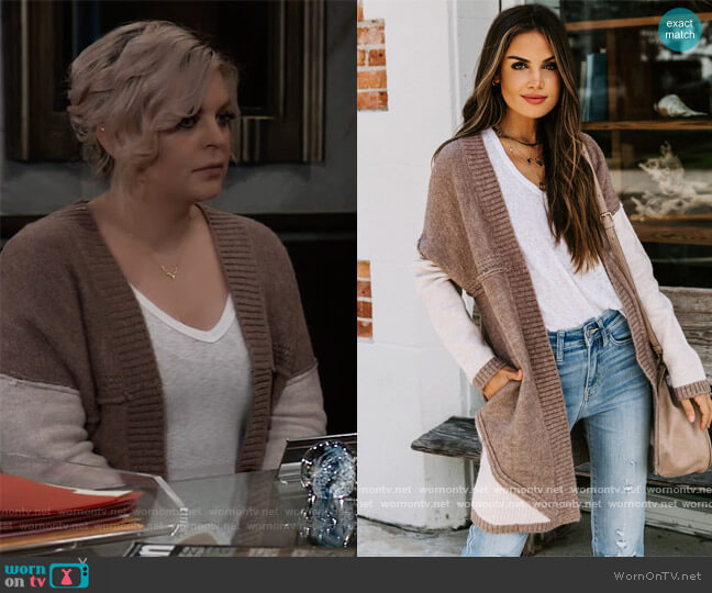 Restless Heart Pocketed Colorblock Cardigan by Vici worn by Maxie Jones (Kirsten Storms) on General Hospital