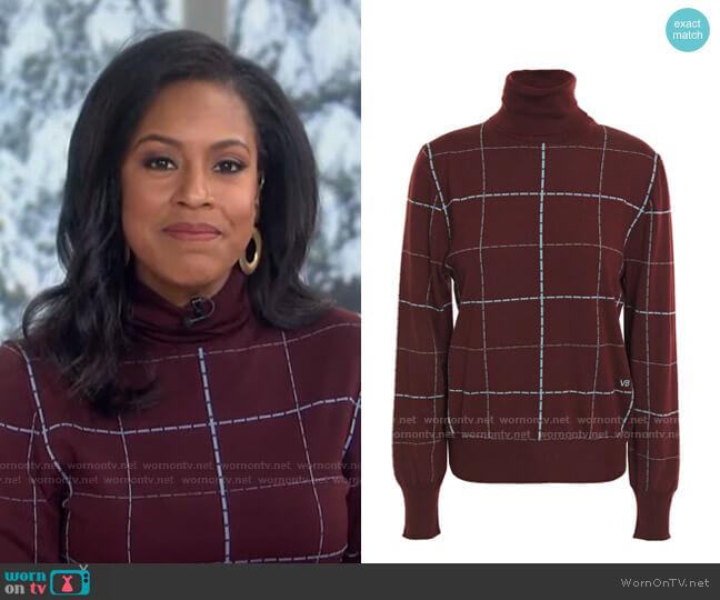 Checked Wool-Blend Turtleneck Sweater by Victoria Beckham worn by Sheinelle Jones  on Today