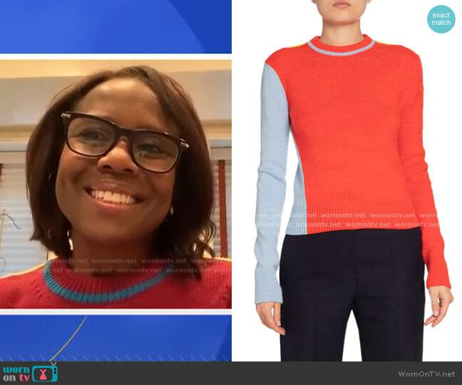 Colorblocked Wool-Blend Crewneck Sweater by Victoria Beckham worn by Deborah Roberts  on Good Morning America