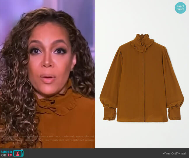 Ruffled silk-chiffon blouse by Victoria Beckham worn by Sunny Hostin  on The View