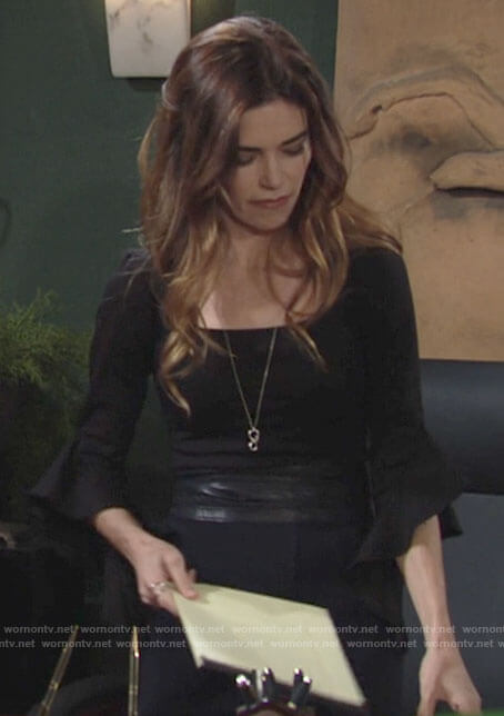 Victoria's black bell sleeve top on The Young and the Restless