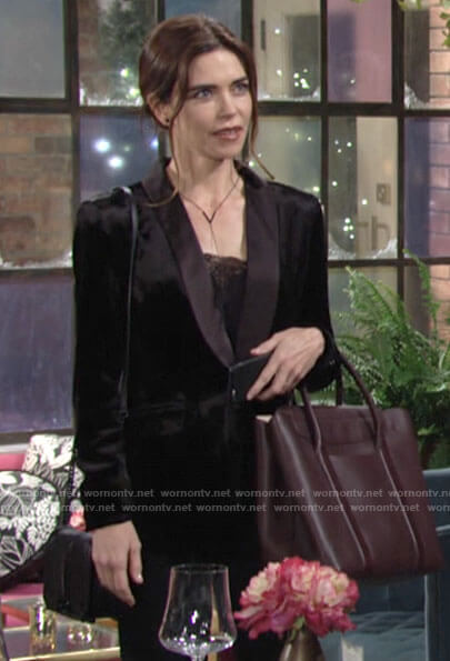 Victoria's black velvet blazer on The Young and the Restless
