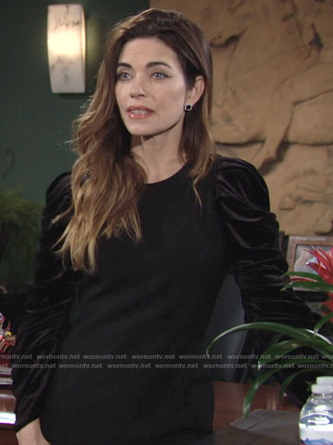 Victoria's black dress with velvet puff sleeves on The Young and the Restless