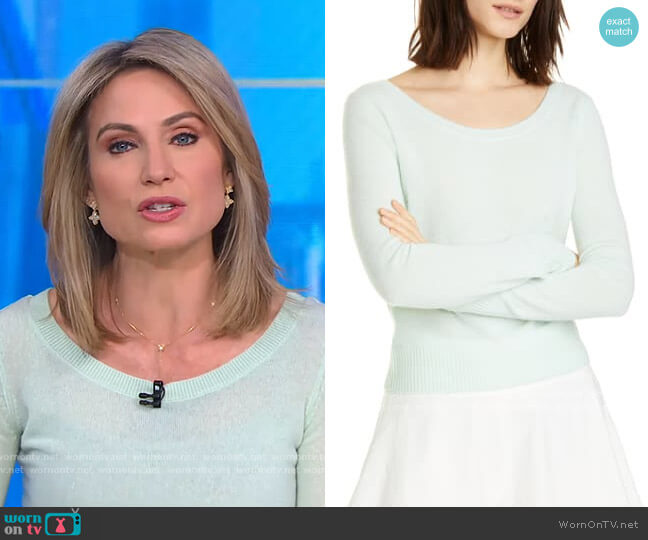 Ballet Neck Cashmere Sweater by Vince worn by Amy Robach  on Good Morning America