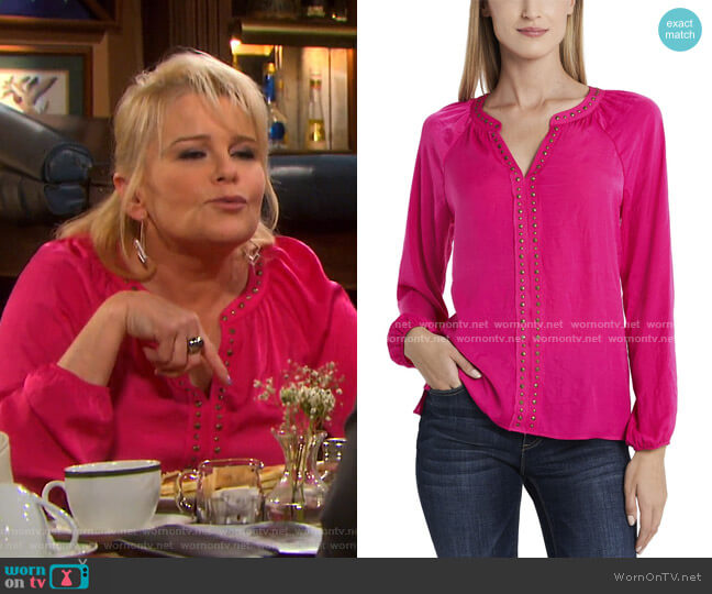 Long Sleeve Stud Trim Blouse by Vince Camuto worn by Bonnie Lockhart (Judi Evans) on Days of our Lives