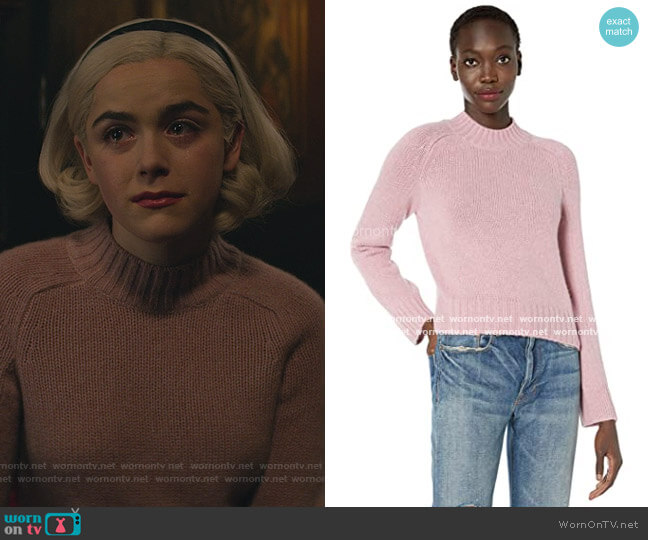 Pink Mockneck Sweater by Vince worn by Sabrina Spellman (Kiernan Shipka) on Chilling Adventures of Sabrina