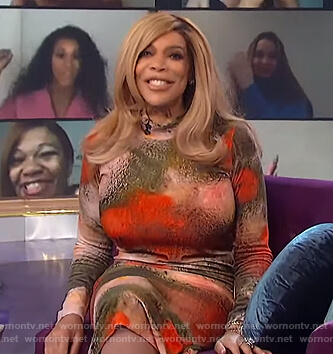 Wendy's watercolor floral dress on The Wendy Williams Show