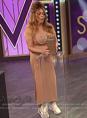 Wendy's beige turtleneck midi dress on The Wendy Williams Show