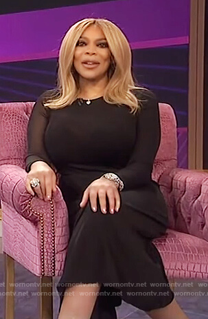 Wendy's black asymmetric sheer dress on The Wendy Williams Show
