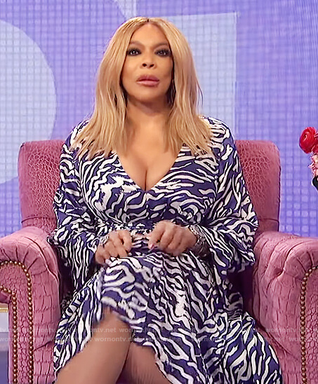 Wendy's blue tiger stripe flare dress on The Wendy Williams Show