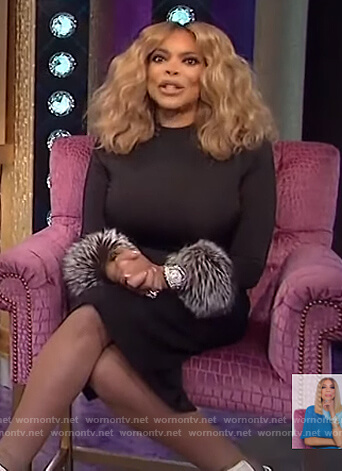 Wendy's black fur cuff dress on The Wendy Williams Show