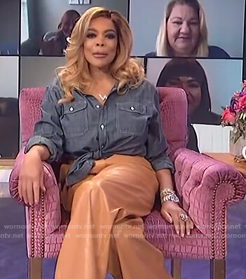 Wendy's beige leather pants on The Wendy Williams Show