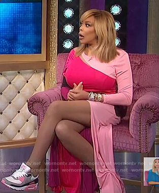 Wendy's pink colorblock maxi dress on The Wendy Williams Show