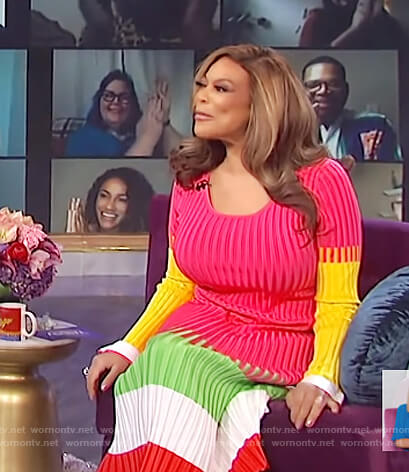 Wendy's ribbed colorblock midi dress on The Wendy Williams Show