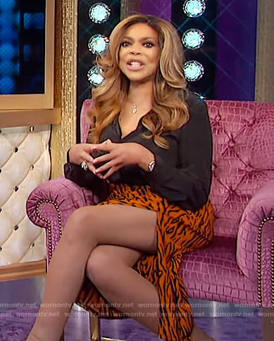 Wendy's tiger stripe skirt on The Wendy Williams Show