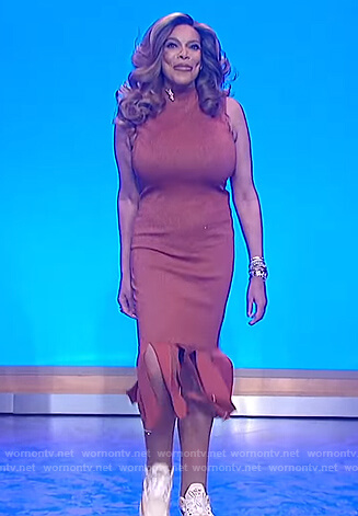 Wendy's brown embellished hem dress on The Wendy Williams Show