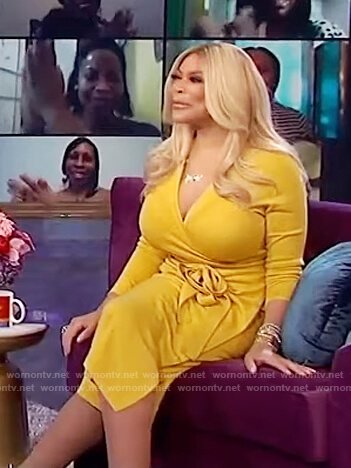 Wendy's yellow knit wrap dress on The Wendy Williams Show