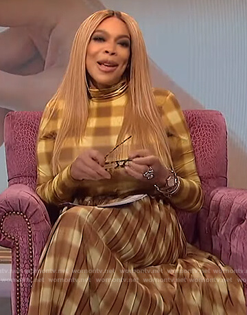 Wendy's yellow gingham check top and skirt on The Wendy Williams Show
