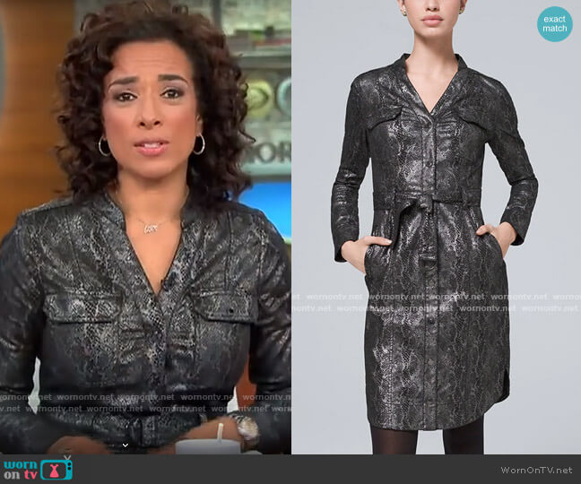 White House Black Market Animal-Print Foil Shirt Dress worn by Michelle Miller  on CBS This Morning