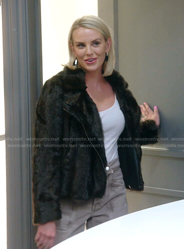 Whitney's brown fur moto jacket on The Real Housewives of Salt Lake City