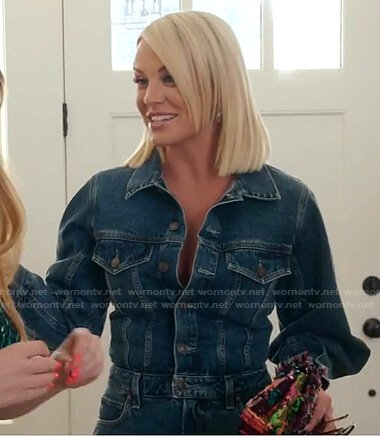 Whitney's denim jumpsuit on The Real Housewives of Salt Lake City