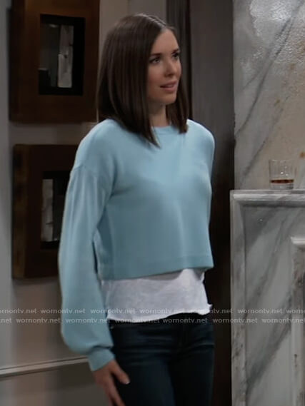 Willow's blue cropped sweater on General Hospital