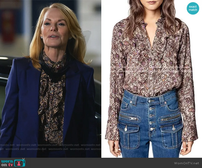 Tuska Blouse by Zadig and Voltaire worn by Lisa Benner (Marg Helgenberger) on All Rise