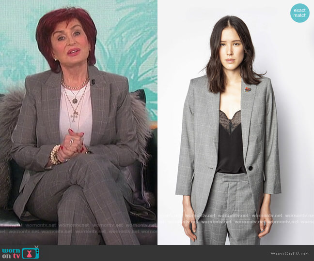 Viva Check Jacket and Pants by Zadic and Voltaire worn by Sharon Osbourne  on The Talk