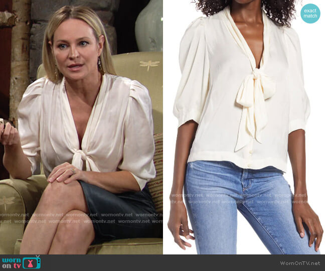 Zadig & Voltaire Satin Tie Neck Top worn by Sharon Collins (Sharon Case) on The Young & the Restless