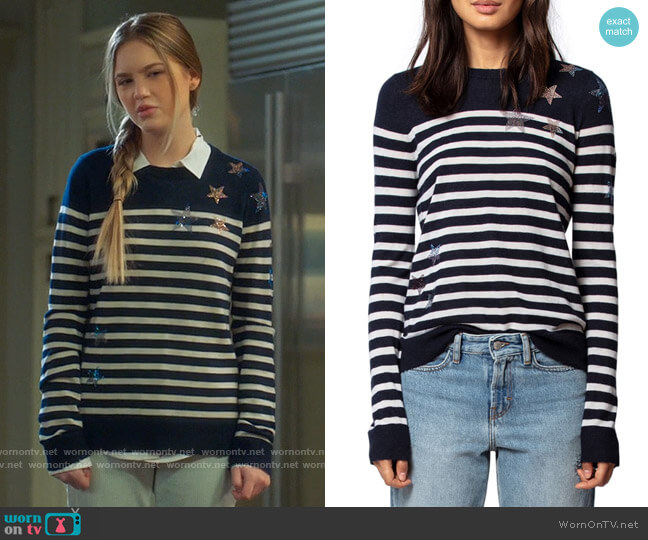 Zadig & Voltaire Stars & Stripes Embellished Cashmere Sweater worn by Orly Bremer (Kyla Kenedy) on Mr Mayor