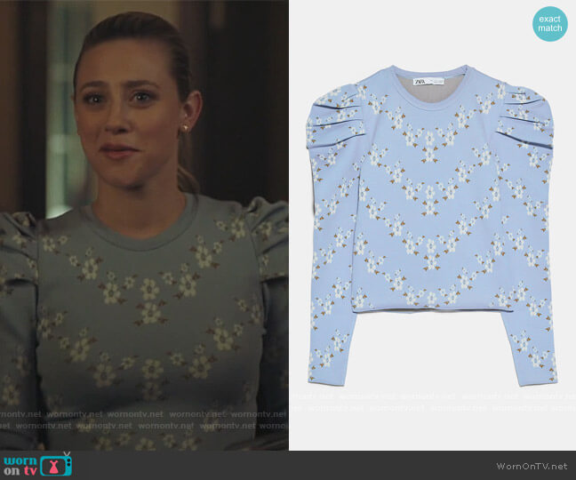 Floral Knit Sweater by Zara worn by Betty Cooper (Lili Reinhart) on Riverdale
