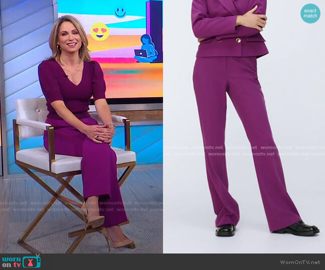 High-Waisted Pants by Zara worn by Amy Robach  on Good Morning America