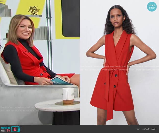 Tied Belt Vest by Zara worn by Kit Hoover  on Access Hollywood