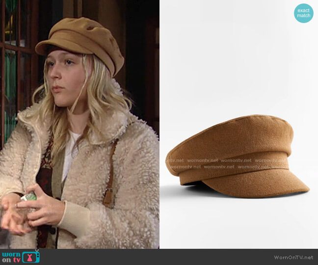 Wool Blend Skipper Cap by Zara worn by Faith Newman (Alyvia Alyn Lind) on The Young & the Restless