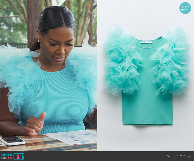 Combination Knit Top by Zara worn by Kenya Moore  on The Real Housewives of Atlanta