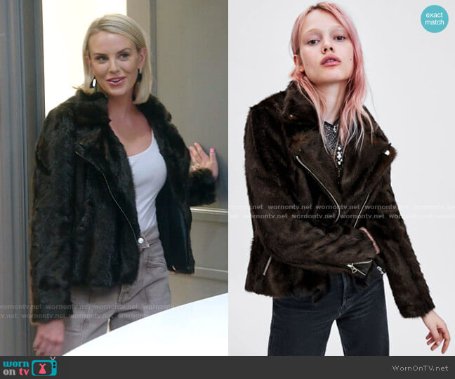 Faux Fur Biker Jackety by Zara worn by Whitney Rose  on The Real Housewives of Salt Lake City