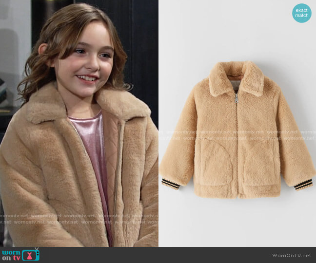 Zara Faux Fur Jacket worn by Katie on The Young and the Restless