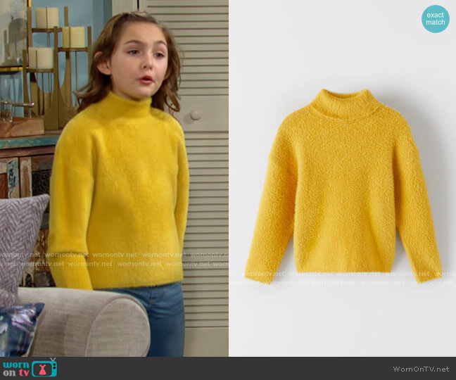 Zara Feather Knit Sweater worn by Katie on The Young and the Restless