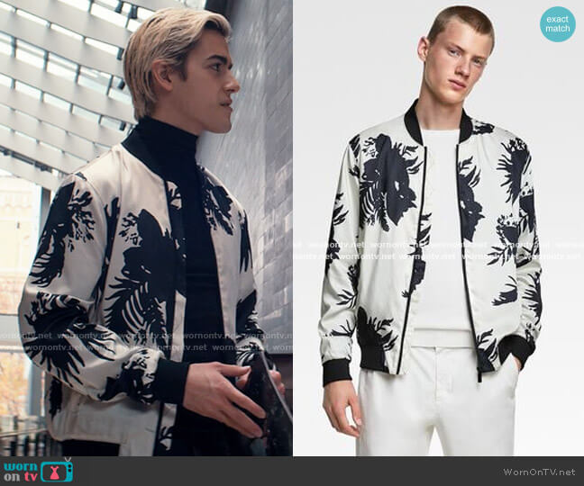 Zara Floral Print Jacket worn by Shane (Brennan Clost) on Tiny Pretty Things