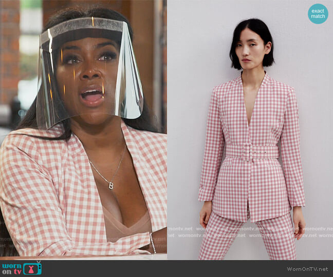 Gingham Check Blazer by Zara worn by Kenya Moore  on The Real Housewives of Atlanta
