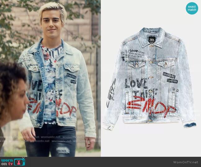 Zara Graffiti-covered denim jacket worn by Shane (Brennan Clost) on Tiny Pretty Things