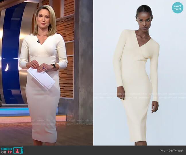 Knit Midi Dress by Zara worn by Amy Robach  on Good Morning America