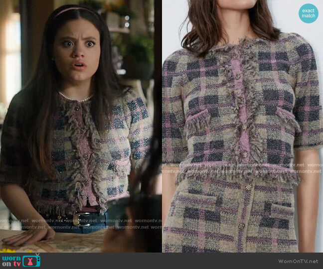 Zara Check Knit Jacket worn by Maggie Vera (Sarah Jeffery) on Charmed