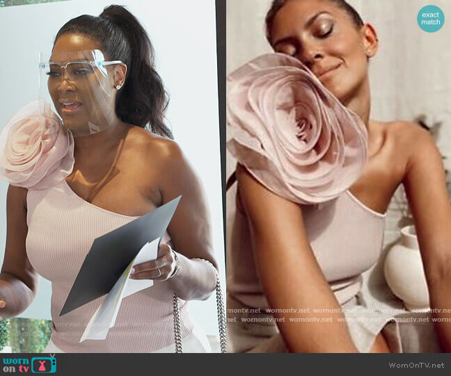 Cropped Asymmetric Floral Flower Top by Zara worn by Kenya Moore  on The Real Housewives of Atlanta