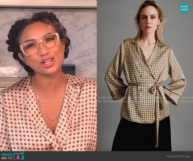 Printed Pajama Blouse by Zara worn by Jeannie Mai  on The Real