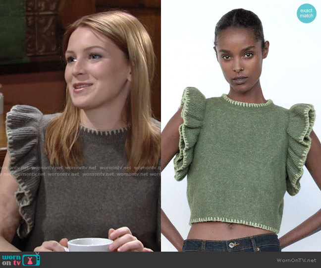 Zara Ruffled Knit Vest worn by Jordan (Madison Thompson) on The Young & the Restless