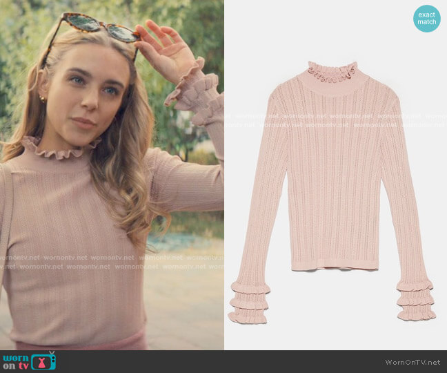 Zara Textured Weave Sweater with Ruffles worn by Bette Whitlaw (Casimere Jollette) on Tiny Pretty Things