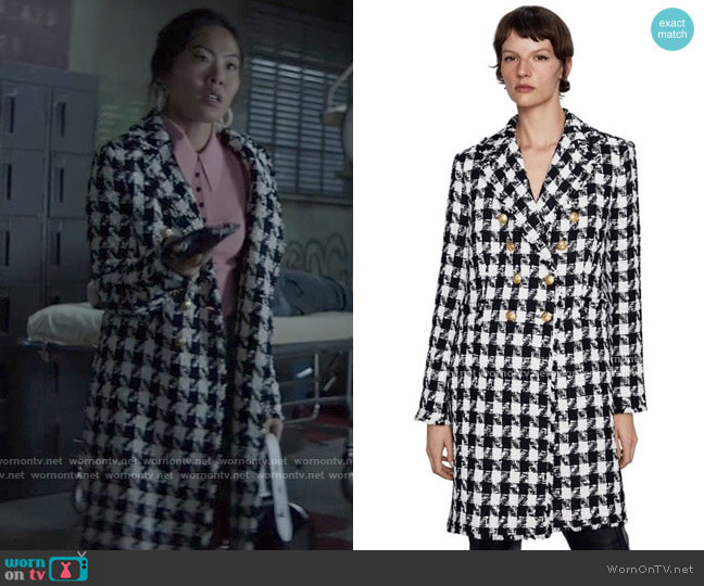 Zara Houndstooth Double Breasted Coat worn by Mary Hamilton (Nicole Kang) on Batwoman